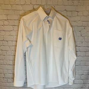 Cinch white button down cotton shirt, S